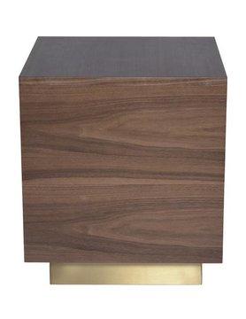 Nuevo Living BEN SIDE TABLE WALNUT TOP GOLD BASE