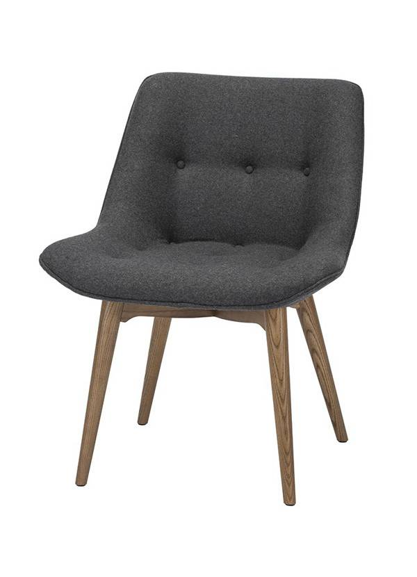 Nuevo Living BRIE DINING CHAIR DARK GREY SEAT FABRIC MATTE