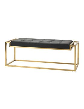 Nuevo Living STEP  BENCH  BLACK  NAUGAHYDE GOLD BRUSHED SS