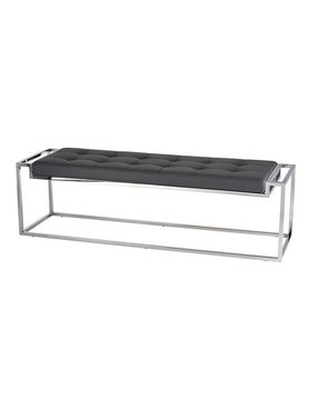 Nuevo Living STEP BENCH  GREY NAUGAHYDE POLISHED SS