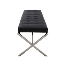 Nuevo Living Auguste Bench Black Naugahyde Brushed Steel