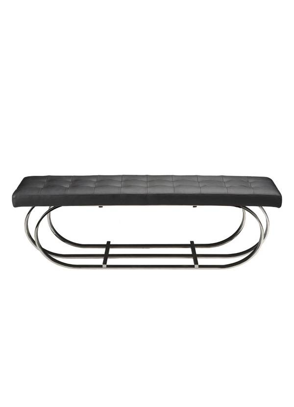 Nuevo Living DANTE BENCH BLACK NAUGAHYDE POLOSHED SS