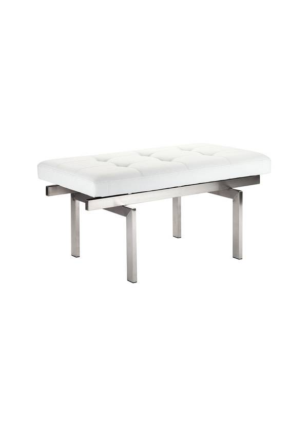 Nuevo Living LOUVE BENCH  WHITE NAUGAHYDE BRUSHED SS