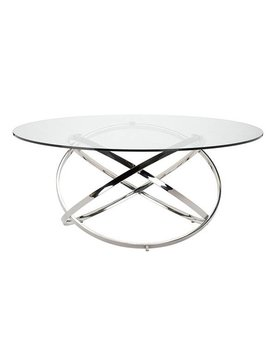 Nuevo Living INFINITY DINING TABLE CLEAR GLASS POLISHED SS