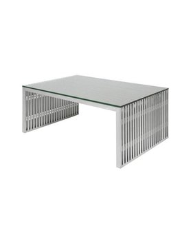 Nuevo Living AMICI - COFFEE TABLE SILVER TOP METAL STAINLESS STEEL BRUSHED