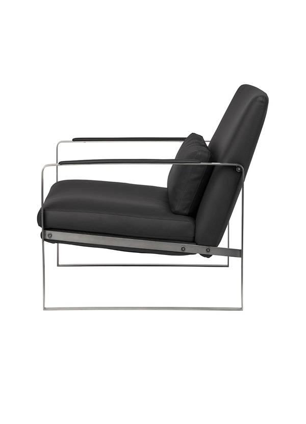 Nuevo Living LEONARDO - OCCASIONAL CHAIR  BLACK SEAT NAUGAHYDE GUNMETAL FRAME