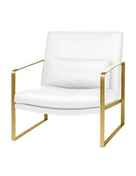 Nuevo Living LEONARDO OCCASIONAL CHAIR - GOLD FRAME WHITE SEAT NAUGAHYDE MATTE
