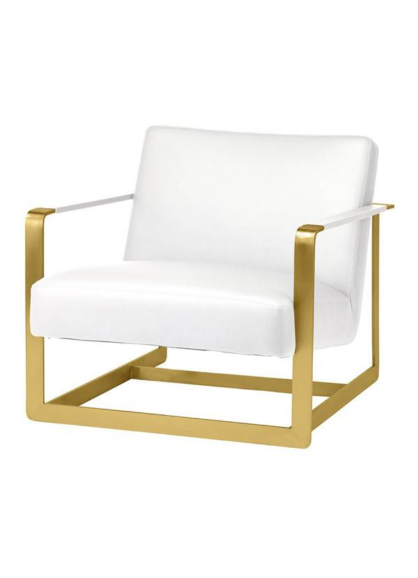 Nuevo Living SUZA OCCASIONAL CHAIR - GOLD FRAME WHITE SEAT NAUGAHYDE MATTE