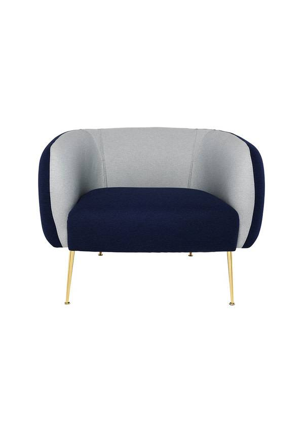 Nuevo Living ASTRID OCCASSIONAL CHAIR NAVY BLUE GOLD POLISHED