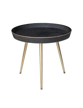 Nuevo Living JOSEPHINE SIDE TABLE BLACK TOP SHAGREEN FAUX BRASS LEG