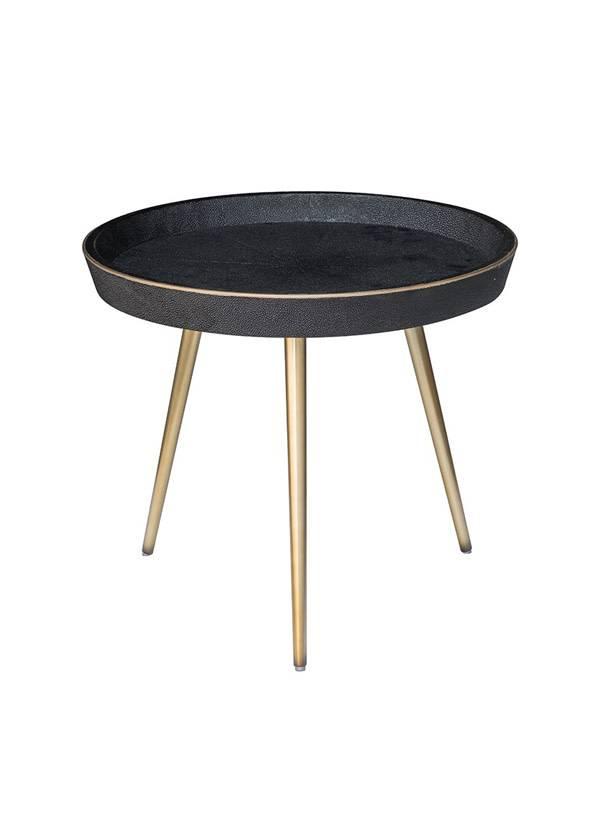 Nuevo Living JOSEPHINE SIDE TABLE BLACK TOP SHAGREEN FAUX BRASS LEG