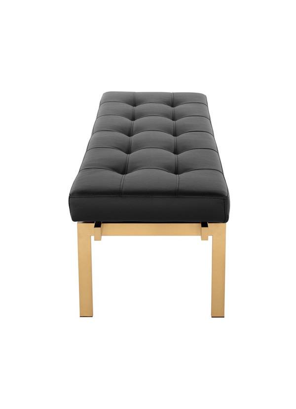 Nuevo Living LOUVE BENCH  BLACK NAUGAHYDE GOLDBRUSHED STAINLESS STEEL