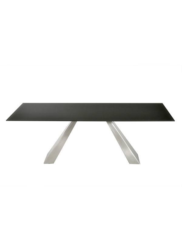 "Kube imports T292 Giove Dining Table , 39*87"" Rectangle GPM24 Grey Acid 12mm Glass Top + SILVER Powder Coated Frame  1"