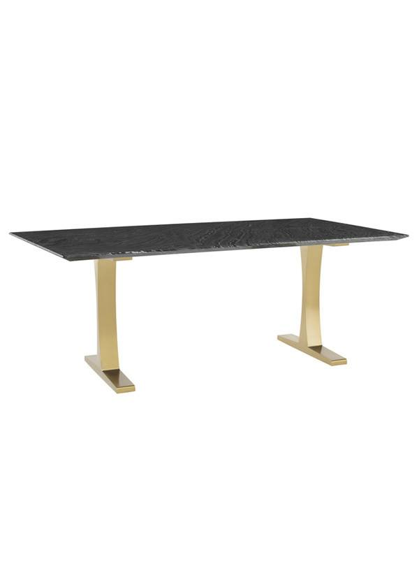 Toulouse Dining Table Black Wood Vein Marble Brushed