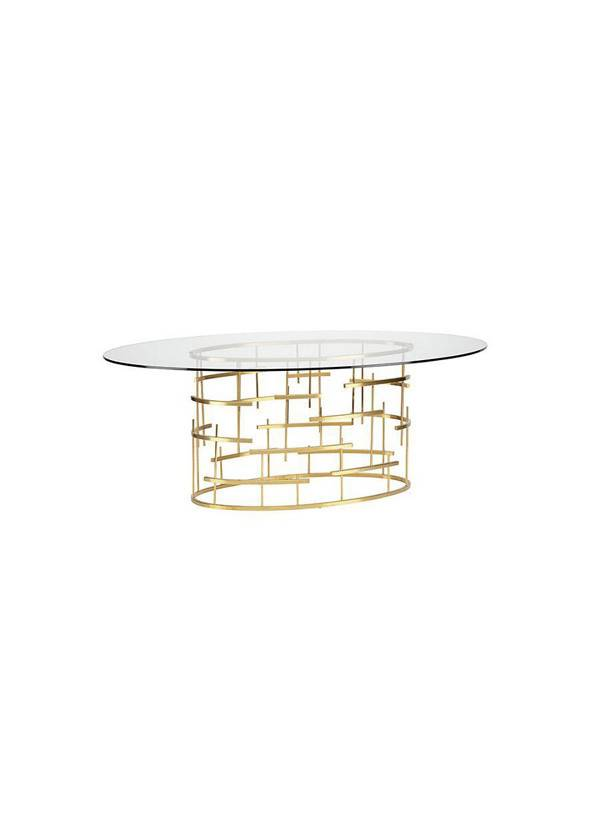 Nuevo Living TIFFANY OVAL DINING TABLE                  GOLD BRUSHED STAINLESS STEEL
