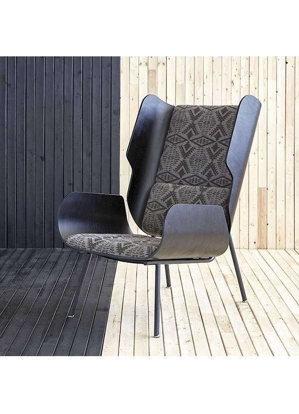 Gus Design Group Inc Elk Chair Pendleton Sunbrella Dia River Tonal Charcoal