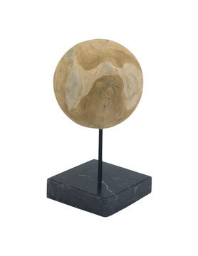 Moes ROUND TEAK BALL ON BLACK MARBLE BASE MEDIUM