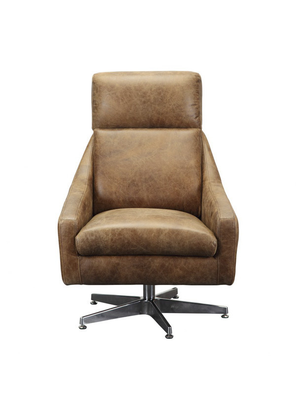 Moes FARIS LEATHER SWIVEL CHAIR LIGHT BROWN
