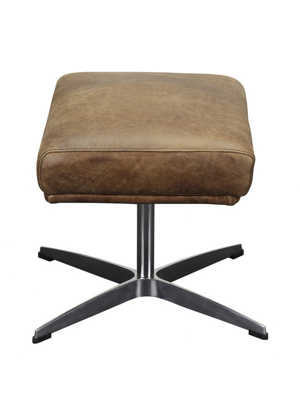 Moes FARIS LEATHER OTTOMAN LIGHT BROWN