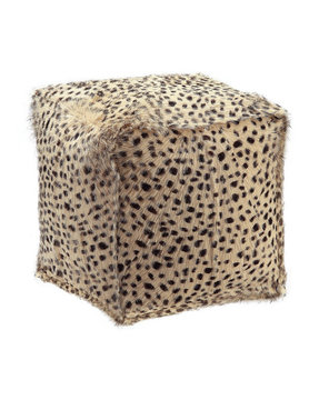 Moes SPOTTED GOAT FUR POUF CREAM