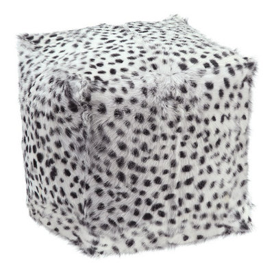 Moes SPOTTED GOAT FUR POUF LIGHT GREY