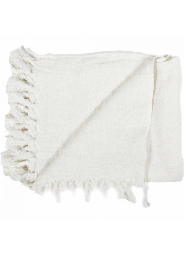 Moes LEMMY HEAVY LINEN THROW IVORY