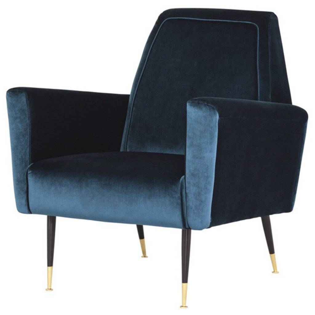 Nuevo Living Victor Occasional Chair in Blue Velvet