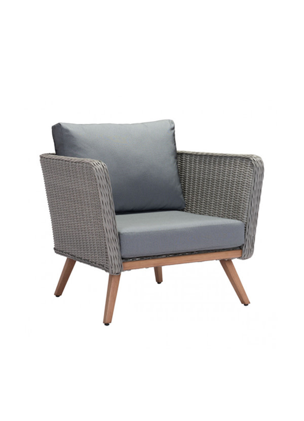 Zuo Modern MONACO ARM CHAIR NATURAL & GRAY