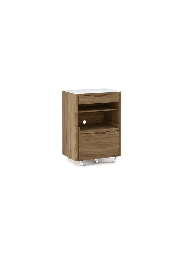 BDI Kronos Multifunction cabinet Satin Wht / N Walnut