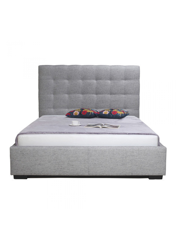 Moes Belle Storage Bed Queen Light Grey Fabric