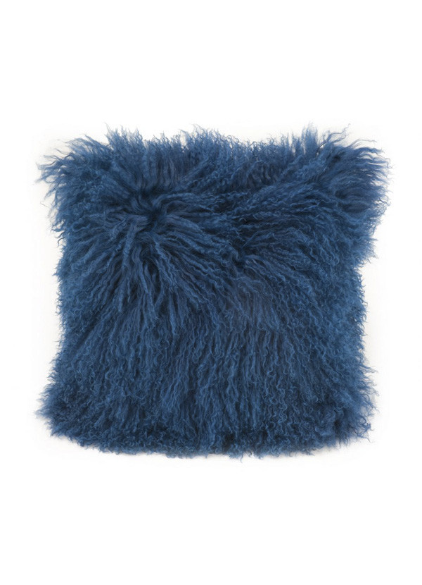 Moes LAMB FUR PILLOW BLUE