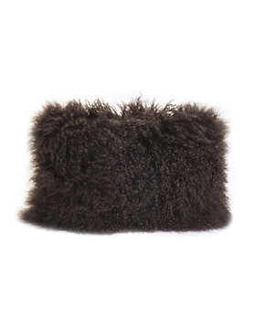 Moes LAMB FUR PILLOW RECT DARK BROWN