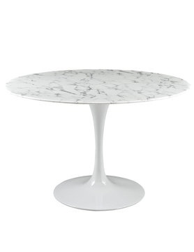 "Modway LIPPA 47"" ROUND FAUX MARBLE DINING TABLE IN WHITE"