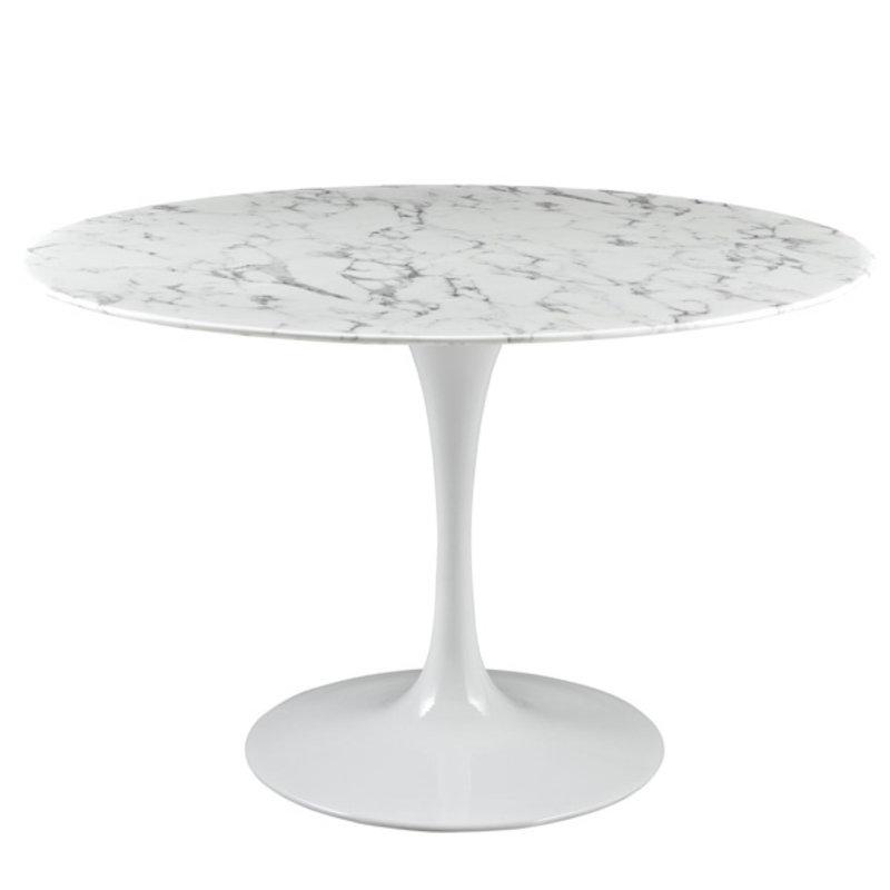 """Modway Lippa 47"""" Round Artificial Marble Dining Table in White"""