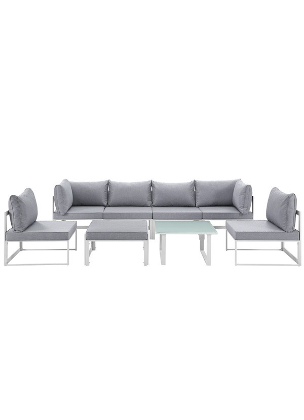 Modway FORTUNA 8 PIECE OUTDOOR PATIO SECTIONAL SOFA SET IN WHITE GREY