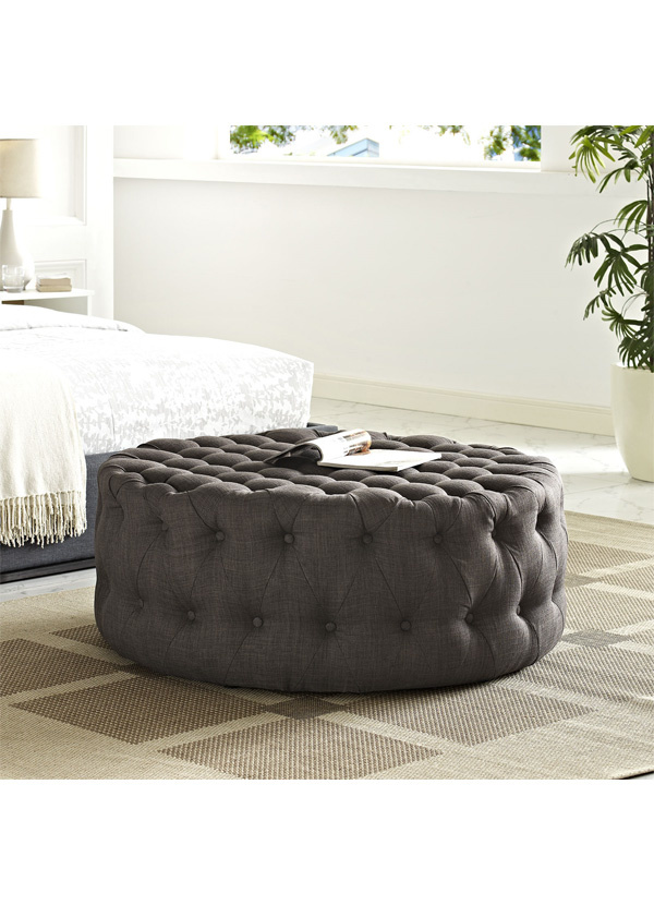 Modway AMOUR UPHOLSTERED FABRIC OTTOMAN IN BROWN