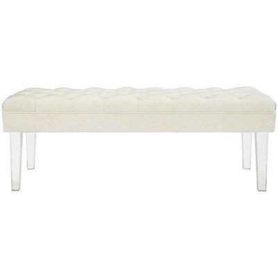 Modway Valet Velvet Bench in Ivory