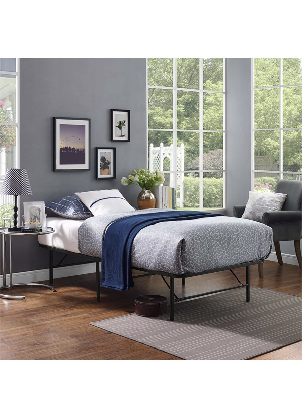 Modway HORIZON TWIN STAINLESS STEEL BED FRAME IN BROWN