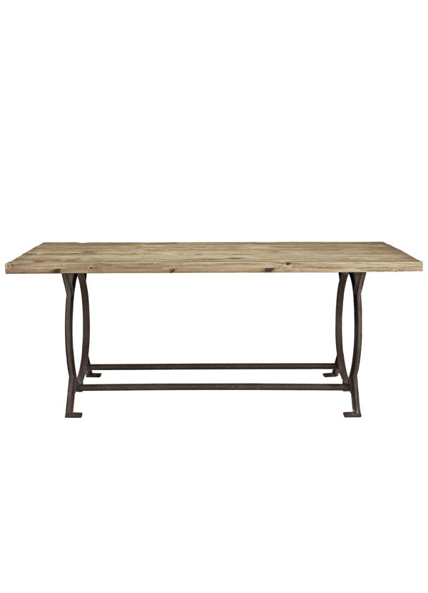 Modway EFFUSE RECTANGLE WOOD TOP DINING TABLE IN BROWN