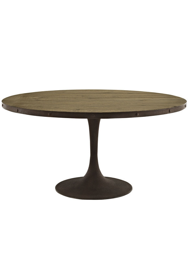 "Modway DRIVE 60"" ROUND WOOD TOP DINING TABLE IN BROWN"