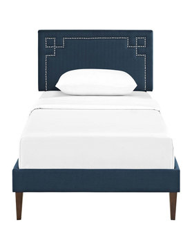Modway RUTHIE TWIN FABRIC PLATFORM BED WITH SQUARED TAPERED LEGS IN AZURE