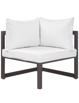 Modway FORTUNA CORNER OUTDOOR PATIO ARMCHAIR IN BROWN WHITE