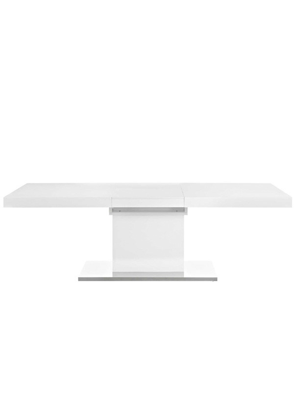 Vector Expandable Dining Table In White Silver Direct
