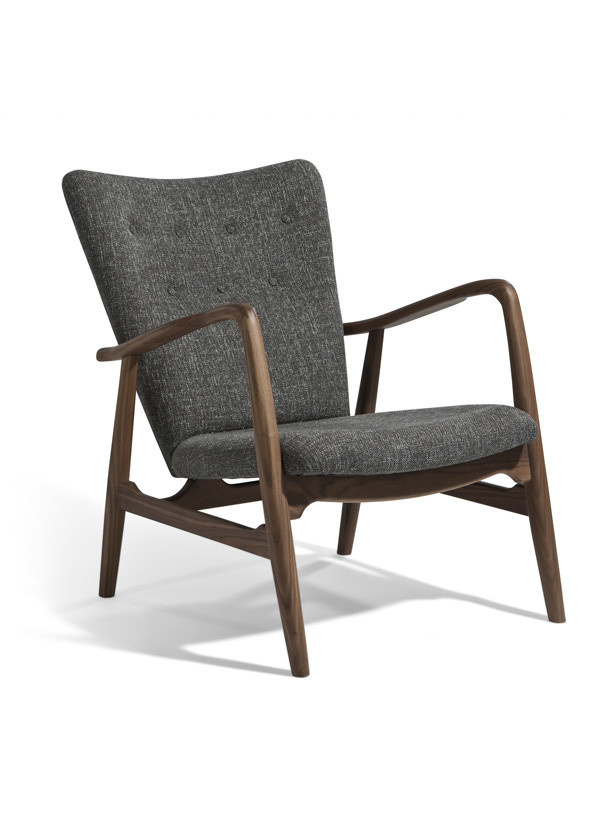 AEON MODERN CLASSIC Addison Lounge Chair in SW009 solid American walnut with D401 grey fabric