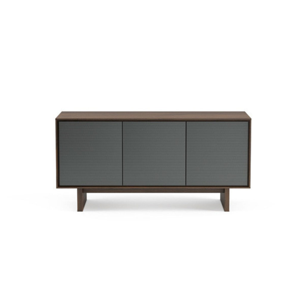 BDI Octave Triple-Width Media Cabinet Toasted Walnut with Grey Flat Doors