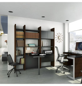 BDI Semblance 5413-PN Chocolate Stained Walnut, Black 3 Section Office Package