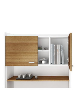 BDI Aspect Of Satin White Natural Walnut Storage Hutch