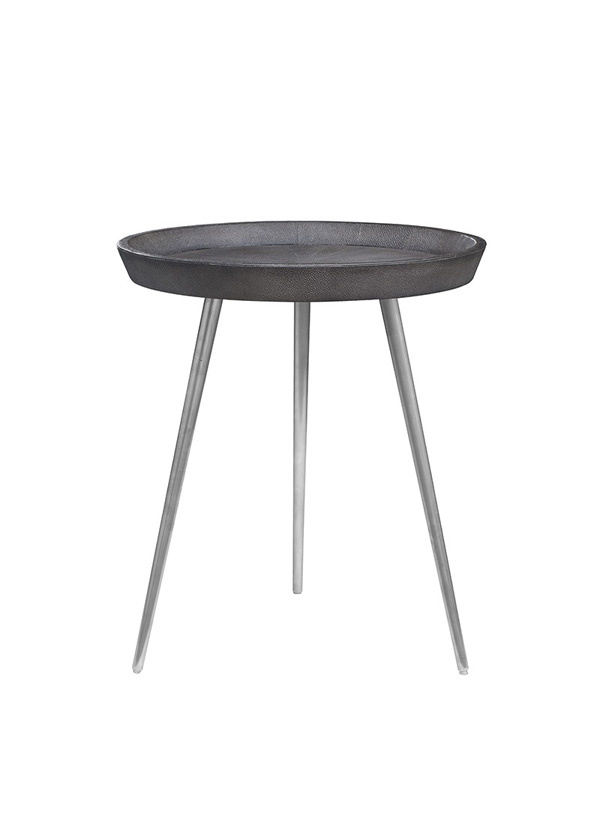 Nuevo Living JOSEPHINE SIDE TABLE GREY TOP SHAGREEN SS LEG