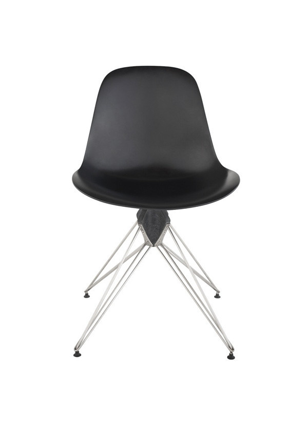 Nuevo Living KAHN DINING CHAIR BLACK CORIAN COMPOSITE POLISHED SS