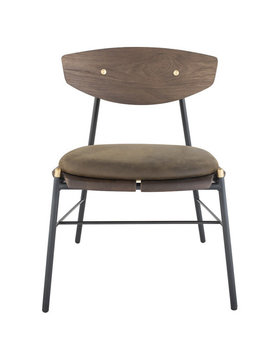 Nuevo Living KINK DINING CHAIR -  SMOKED BACKREST WOOD OAK JIN GREEN LEATHER